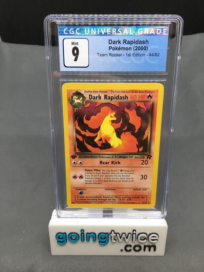 CGC Graded 2000 Pokemon Team Rocket 1st Edition #44 DARK RAPIDASH Trading Card - MINT 9
