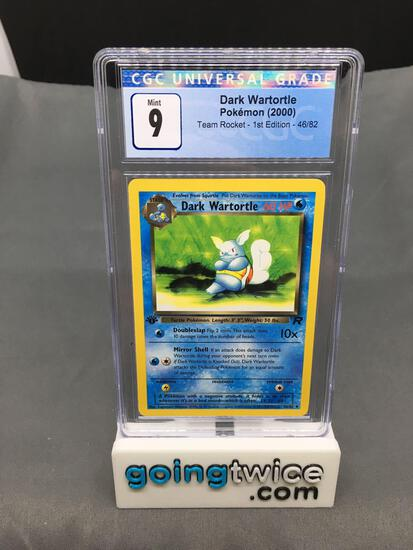 CGC Graded 2000 Pokemon Team Rocket 1st Edition #46 DARK WARTORTLE Trading Card - MINT 9