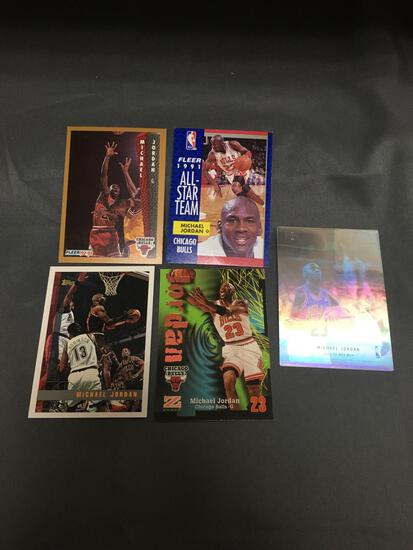 5 Card Lot of MICHAEL JORDAN Chicago Bulls Basketball Cards from Huge Collection