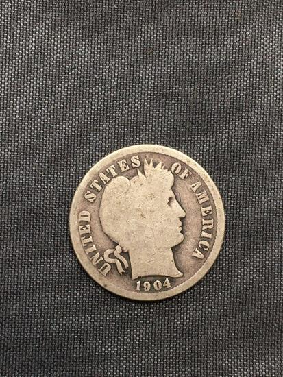 1904 United States Barber Silver Dime - 90% Silver Coin from Estate