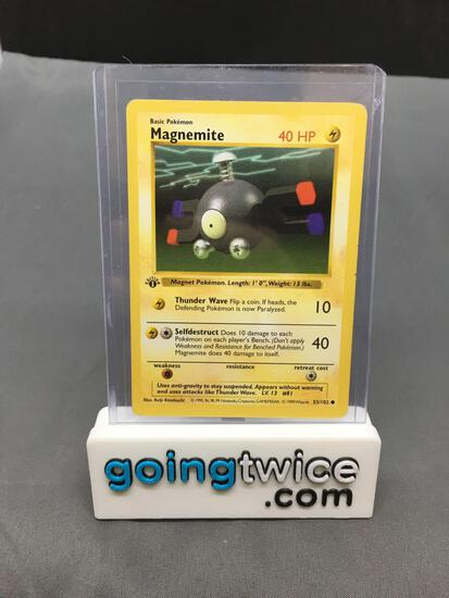 1999 Pokemon Base Set 1st Edition Shadowless #53 MAGNEMITE Vintage Trading Card from Collection