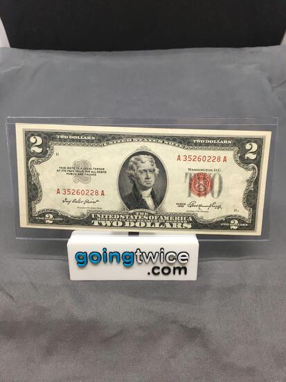1953 United States Jefferson $2 Red Seal Bill Currency Note