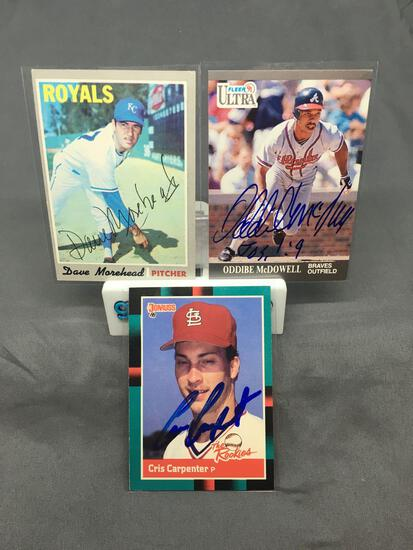 3 Card Lot of Hand Signed Autographed Baseball Cards - Cris Carpenter, Oddibe McDowell, Dave