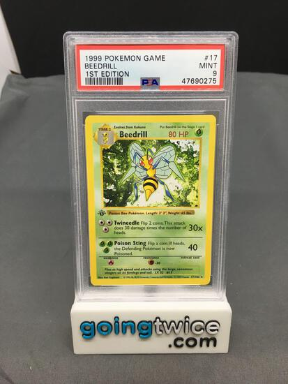 PSA Graded 1999 Pokemon Base Set 1st Edition Shadowless #17 BEEDRILL Trading Card - MINT 9