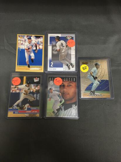 5 Card Lot of DEREK JETER New York Yankees Baseball Cards from Huge Collection
