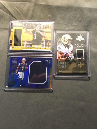 3 Card Lot of FOOTBALL Jersey and Relic Cards with Stars and Rookie Cards from Huge Collection