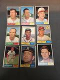 9 Card Lot of 1961 Topps Vintage Baseball Cards from Nice Collection