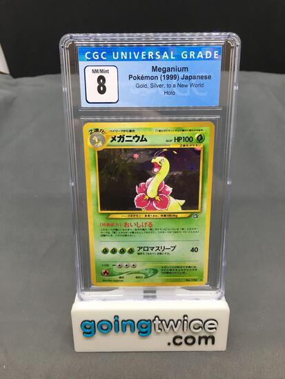 CGC Graded 1999 Pokemon Gold Silver Japanese #154 MEGANIUM Holofoil Rare Trading Card - NM-MT 8