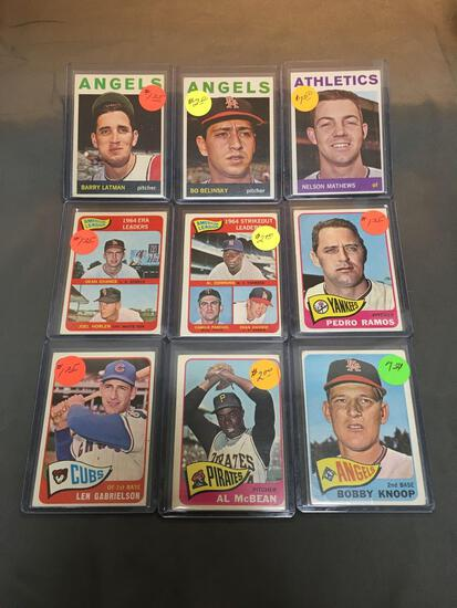 9 Card Lot of 1964-1965 Topps Vintage Baseball Cards from Huge Estate Collection