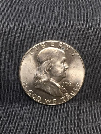 1961 United States Franklin Silver Half Dollar - Appears Uncirculated - 90% Silver Coin
