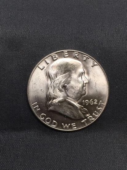 1962-D United States Franklin Silver Half Dollar - Appears Uncirculated - 90% Silver Coin