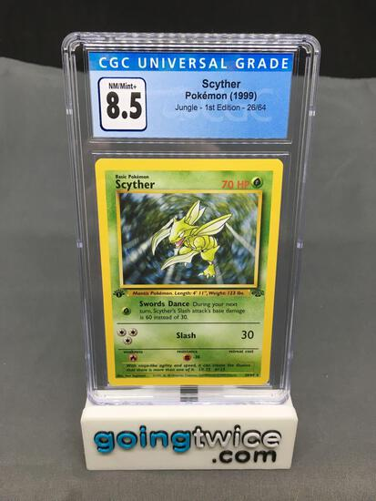 CGC Graded 1999 Pokemon Jungle 1st Edition #26 SCYTHER Trading Card - NM-MT+ 8.5