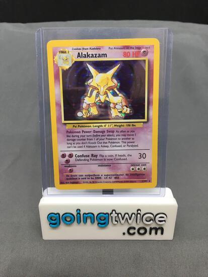 1999 Pokemon Base Set #1 ALAKAZAM Holofoil Rare Trading Card from Consignor - Binder Set Break!