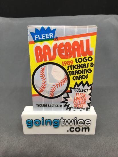 Factory Sealed 1989 FLEER Baseball 15 Card Pack & 1 Sticker - Ken Griffey Jr. RC?