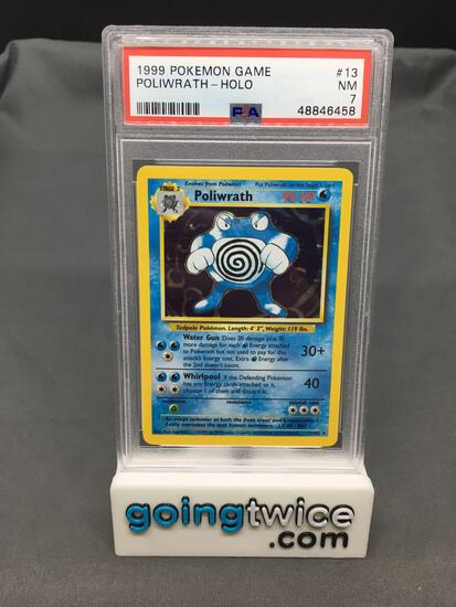 PSA Graded 1999 Pokemon Base Set Unlimited #13 POLIWRATH Holofoil Rare Trading Card - NM 7