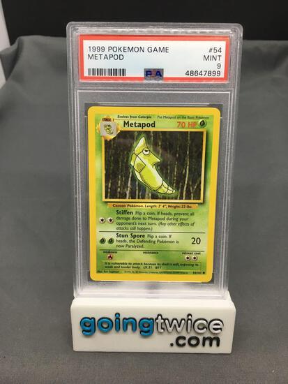 PSA Graded 1999 Pokemon Base Set Unlimited #54 METAPOD Trading Card - MINT 9