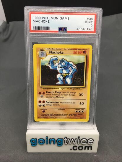 PSA Graded 1999 Pokemon Base Set Unlimited #34 MACHOKE Trading Card - MINT 9