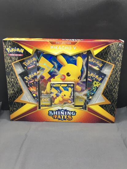 Factory Sealed Pokemon SHINING FATES Pikachu V 4 Booster Pack Box