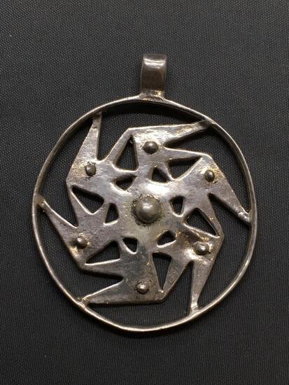 Round 42mm Diameter Six Point Pinwheel Design Sterling Silver Pendant