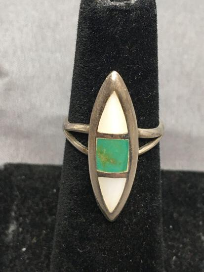 Marquise Shaped 26x8mm Top w/ Mother of Pearl & Turquoise Inlay Detail Sterling Silver Ring Band