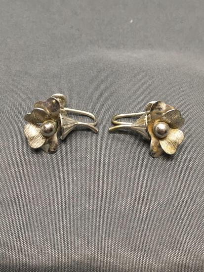 Signed Designer Floral Themed 20mm Tall 15mm Wide Pair of Sterling Silver Earrings