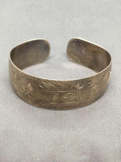 Floral Filigree Engraving Detailed 20mm Tall 2.75in Diameter Sterling Silver Monogram Cuff Bracelet