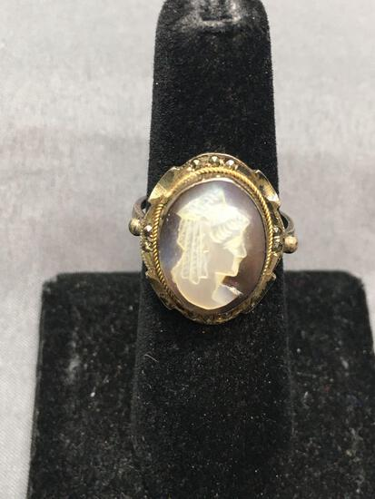 Cameo Factory of Naples Designer Mother of Pearl Carved Oval 15x12mm Lady Cameo Vintage 800 Silver