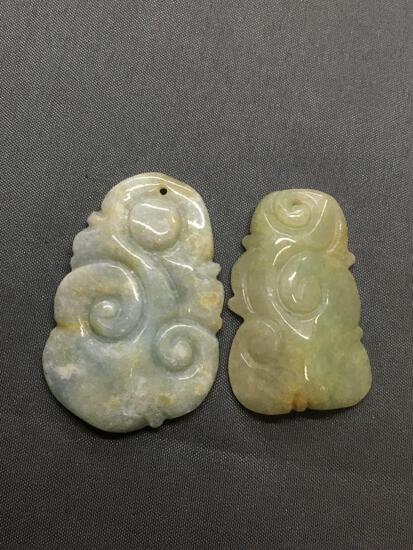 Lot of Two Asian Style Hand-Carved Miscellaneous Jade Pendants