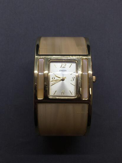 Chico's Designer 32mm Extra Wide Gold-Tone Stainless Steel Cuff Watch