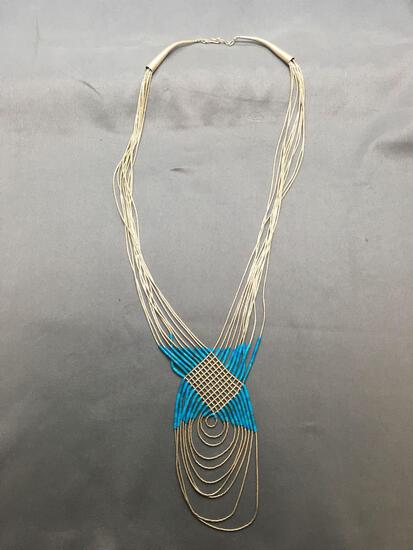Old Pawn Native American Style Sterling Silver & Turquoise Beaded 28in Long Braided Necklace