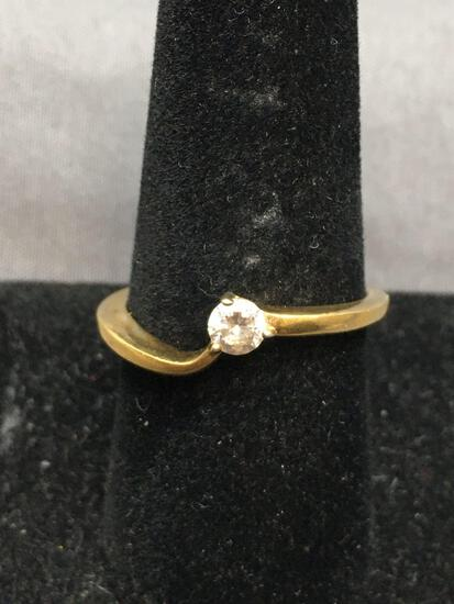 Three Prong Set Round Faceted 4mm CZ Center Gold-Tone Bypass Sterling Silver Solitaire Ring Band