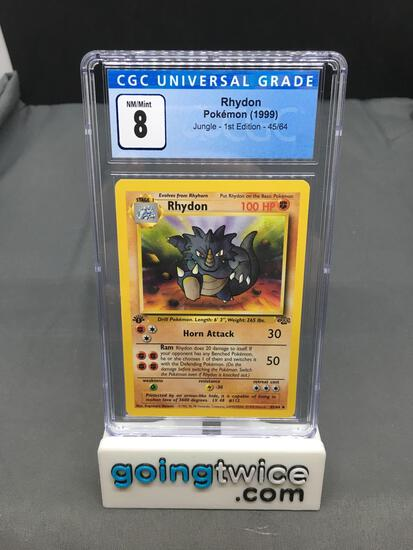 CGC Graded 1999 Pokemon Jungle 1st Edition #45 RHYDON Trading Card - NM-MT 8