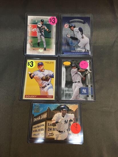 5 Count Lot of DEREK JETER New York Yankees Baseball Cards from AMAZING Collection