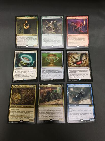 9 Card Lot of Magic the Gathering Gold Symbol RARES, Foils, and Mythics from HUGE Collection