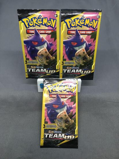 Lot of 3 Factory Sealed Pokemon TEAM UP 3 Card Booster Packs from Retail Box Break