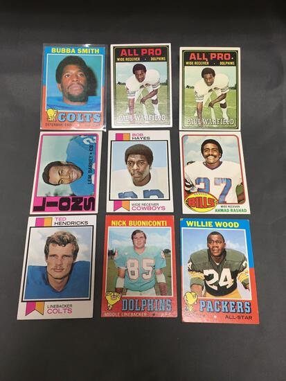 9 Card Lot of Mostly 1970's Football Star Cards from Huge Closet Find Collection