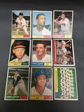 9 Card Lot of 1961 Topps Vintage BASEBALL Cards from Estate
