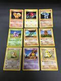 Vintage Lot of 9 Pokemon Base Set Shadowless Trading Cards from Consignor Collection