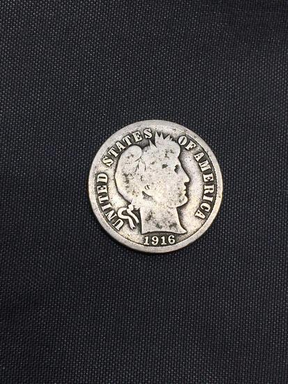1916 United States Barber Silver Dime - 90% Silver Coin from Estate