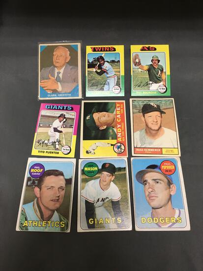 9 Card Lot of Vintage 1960's and 1970's Topps Baseball Cards
