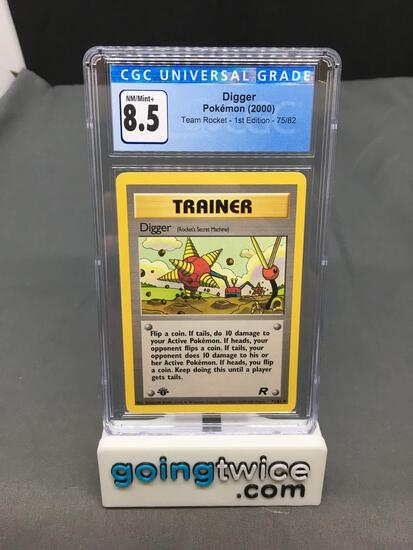 CGC Graded 2000 Pokemon Team Rocket 1st Edition #75 DIGGER Trading Card - NM-MT+ 8.5