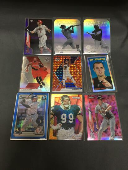 9 Card Lot of REFRACTORS and PRIZMS with Stars and Rookies from Collection