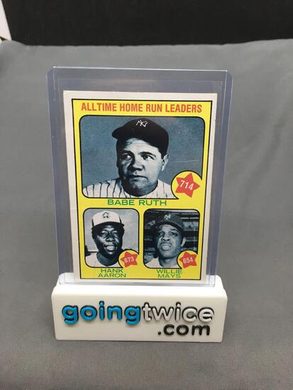 1973 Topps #1 All-Time HR Leaders - BABE RUTH, HANK AARON, WILLIE MAYS Vintage Baseball Card