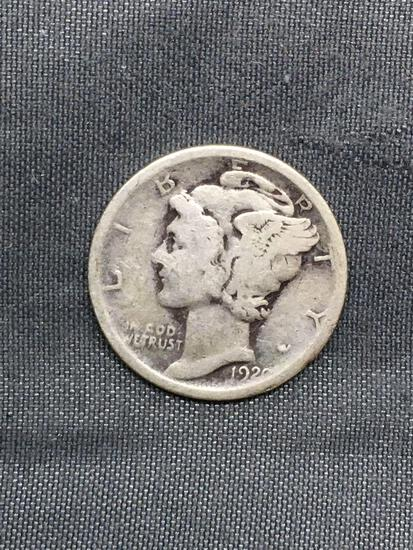 1920-D United States Mercury Silver Dime - 90% Silver Coin from Estate