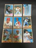 9 Card Lot of 1968 Topps Vintage Baseball Cards from Estate