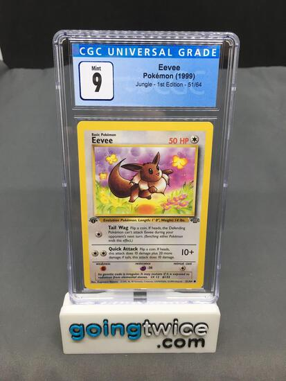 CGC Graded 1999 Pokemon Jungle 1st Edition #51 EEVEE Trading Card - MINT 9