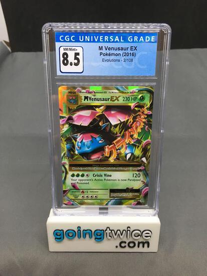 CGC Graded 2016 Pokemon Evolutions #2 M VENUSAUR EX Holofoil Rare Trading Card - NM-MT+ 8.5