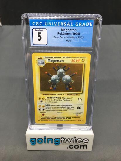 CGC Graded 1999 Pokemon Base Set Unlimited #9 MAGNETON Holofoil Rare Trading Card - EX 5