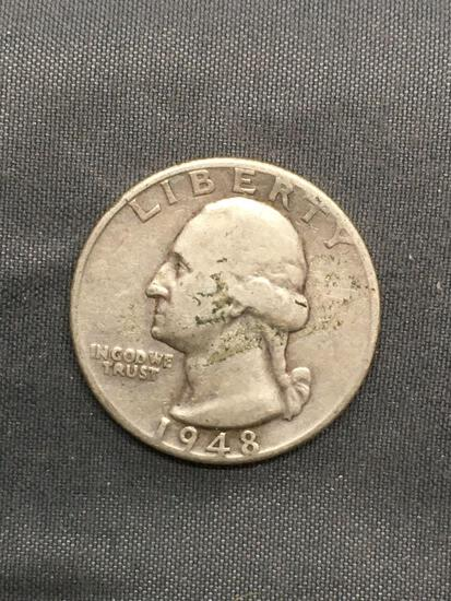 1948 United States Washington Silver Quarter - 90% Silver Coin from Estate