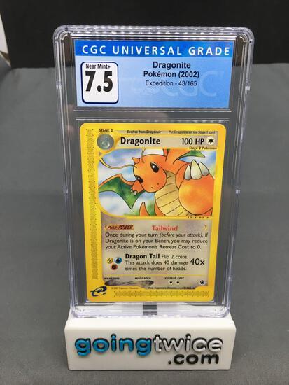 CGC Graded 2002 Pokemon Expedition #43 DRAGONITE Rare Trading Card - NM+ 7.5